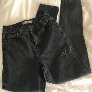 Topshop Mom Jeans Distressed Black